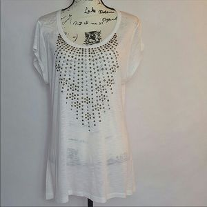 SAKS Fifth Avenue Studded White Casual Blouse